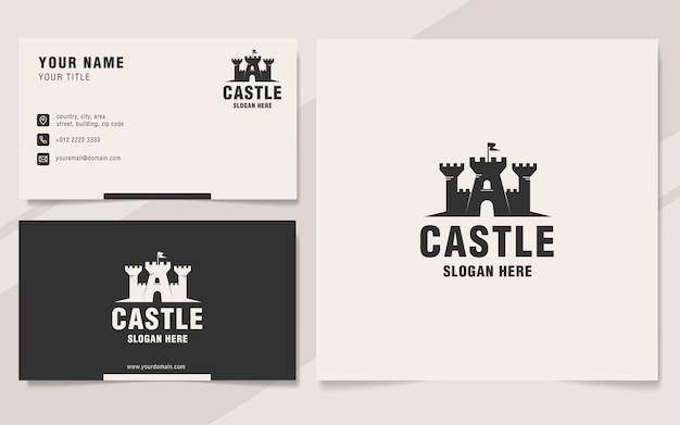 Castle logo template on monogram style