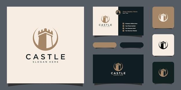 名刺と城のロゴのベクトルのデザイン