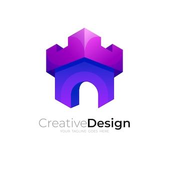シンプルなデザインテンプレート、3dスタイルの城のロゴ
