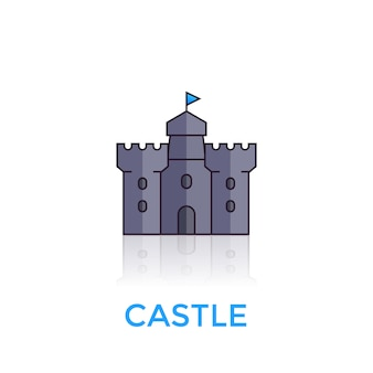 Castle, medieval fortress icon on white