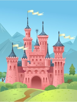 Castle in the mountains. kings house in the mountains. princess tower.  illustration