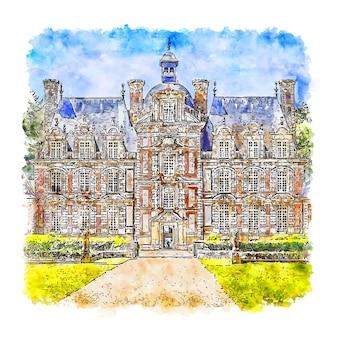 Замок нормандия франция акварельный эскиз рисованной