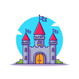 Castle palace cartoon icon illustration.