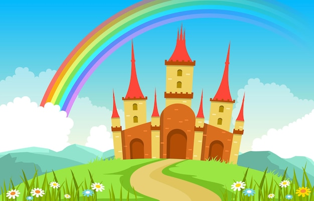 おとぎの国のおとぎ話の風景イラストの城の宮殿の虹