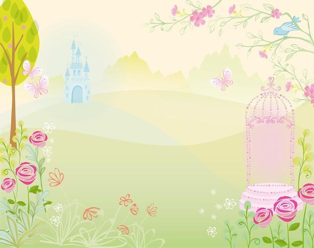 Castle palace with  garden landscape illustration for fairytale princess design