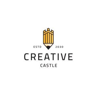 城鉛筆クリエイティブロゴアイコンデザインテンプレートベクトルイラスト
