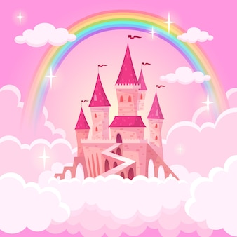 Castle of princess. fantasy flying palace in pink magic clouds. fairytale royal medieval heaven palace. cartoon illustration
