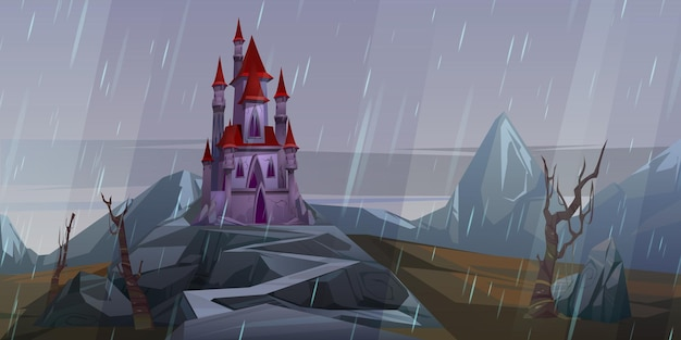 Castle on rock at rainy weather