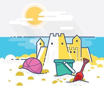 Castle sand at a beach with flat design concept