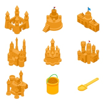 Castle sand icons set, isometric style