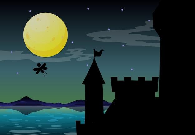 Scena del castello di notte