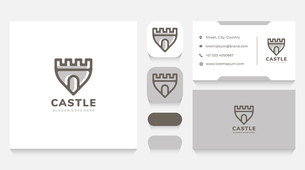 Castle shield logo template and business card