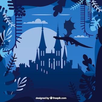 Castle silhouette background with dragon flying