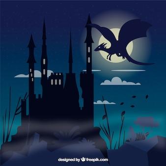 Замок силуэт фон с драконом полет