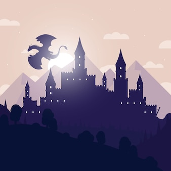 Castle silhouette with flying dragon