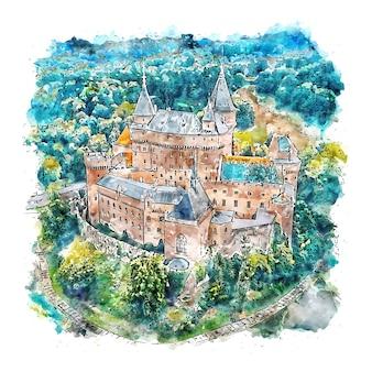 Замок словакия акварельный эскиз рисованной иллюстрации