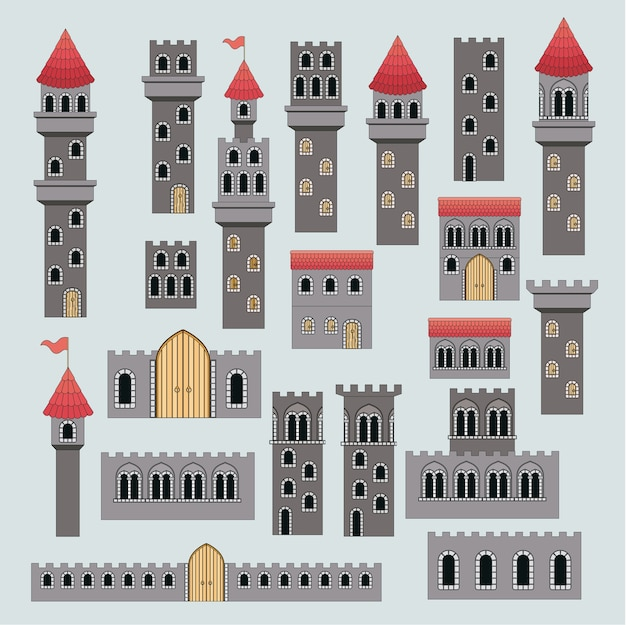 Castle structure parts in colorful silhouette