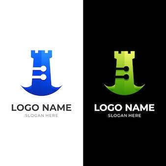 キャッスルテックのロゴ、キャッスルとテクノロジー、3dグリーンとブルーのカラースタイルのコンビネーションロゴ Premiumベクター