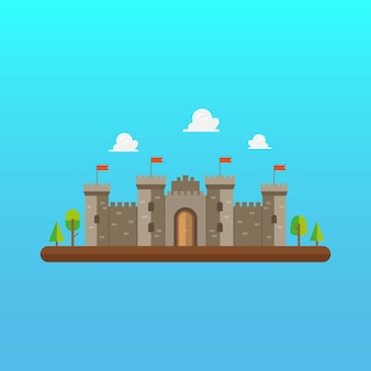 Castle tower architecture in flat style design