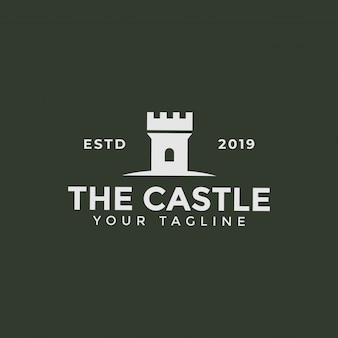Castle tower, fortress building logo design template