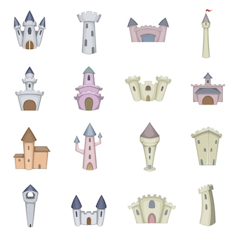 Castle tower icons set