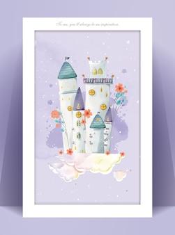 Замок панорама акварельной живописи в пастельных тонах романтическая иллюстрация мира мечты