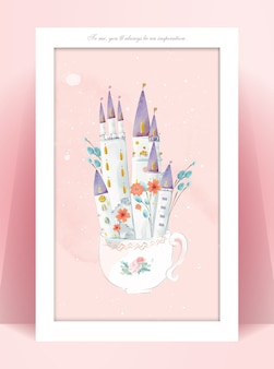 パステルカラーの城の水彩画のパノラマロマンチックな夢の世界のイラスト