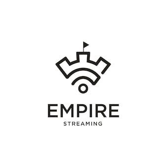 Castle wifi streaming creative logo design inspiration