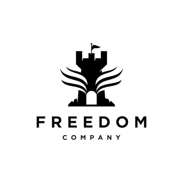 城の翼の自由のロゴデザインのインスピレーション