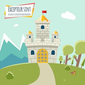 Замок с высокой башней и флагом. вокруг замка лес и горы. векторная иллюстрация