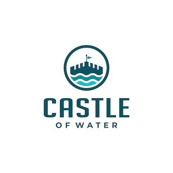 Castle with blue ocean waves water logo design
