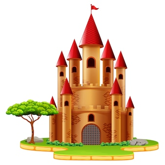 Castle with dragon and a knight