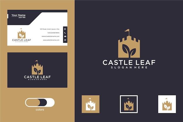 葉のロゴデザインと名刺と城