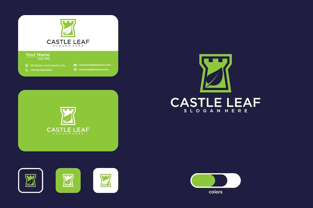 Castle with leaf logo design and business card