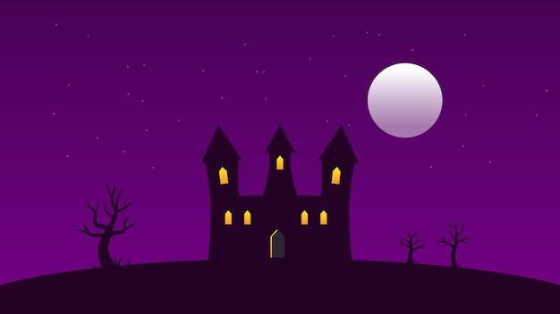 나무와 보름달, 어두운 하늘에 반짝이는 흰색 별이 있는 언덕에 조명 창이 있는 성