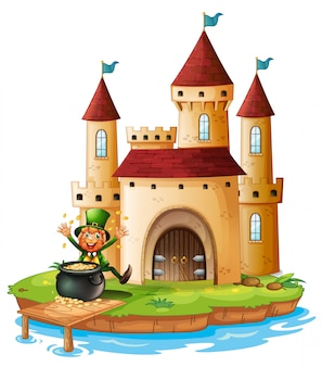 A castle with an old man near the pot of gold coins