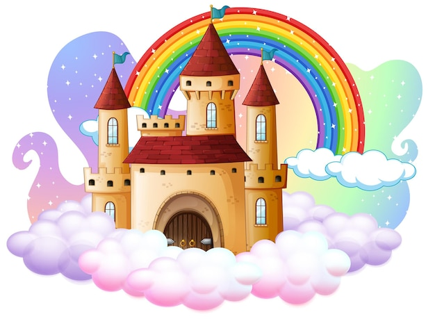 Castle with rainbow on the cloud isolated on white