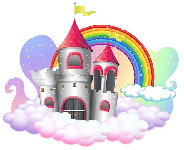 Замок с радугой на облаке, изолированные на белом фоне