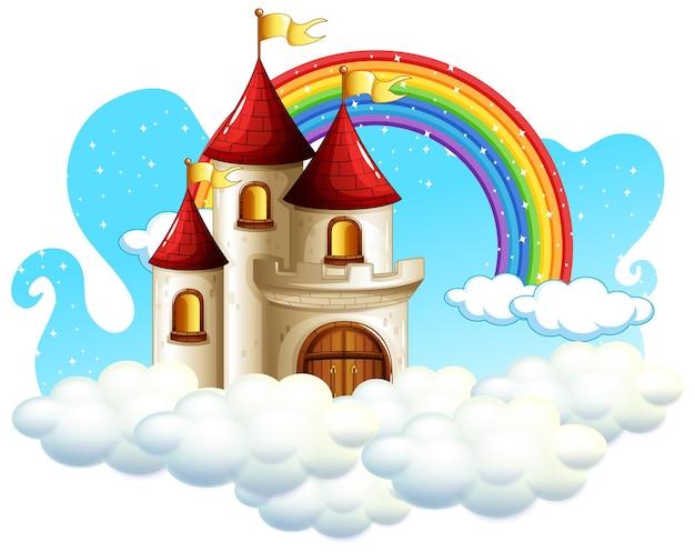 白い背景で隔離の雲の上の虹と城