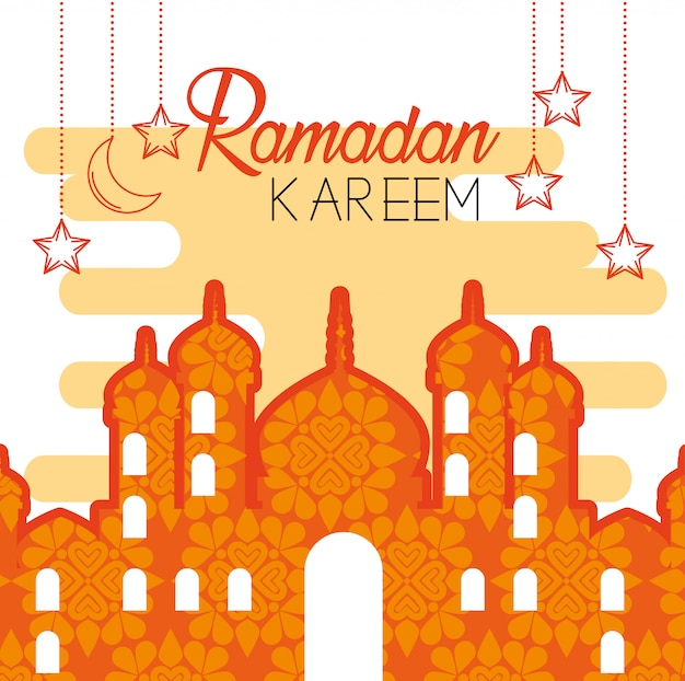 Castle with stars hanging to ramadan kareem