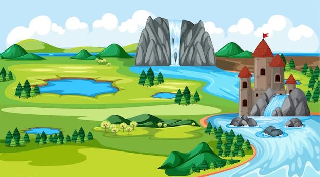 城と滝のある自然公園、秋の川側の風景シーン