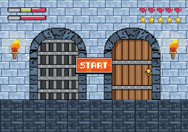 Castles doors with torches and notice message with life bars