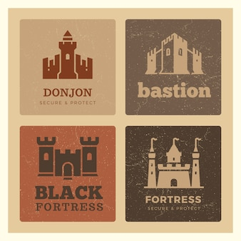 Castles, fortress, bastion label design