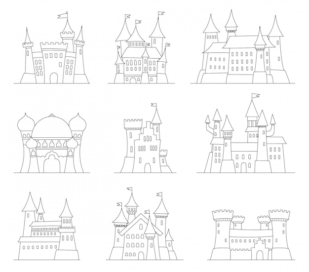 Castles and fortresses flat design vector icons