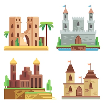 Castles and fortresses flat icons set. cartoon fairy medieval castles with towers.
