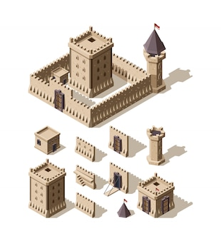 Castles isometric. creation kit of medieval buildings walls gates towers of ancient castles  architectural assets for games