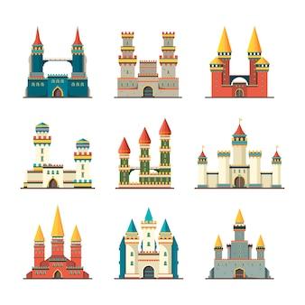 Замки средневековые. сказочный купольный дворец с большими башнями, изображениями средневековых построек в плоском стиле