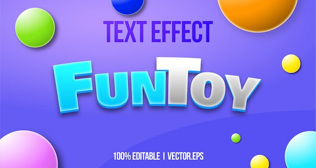 Casual 3d fun toy 3d bold game text effect graphic style layer stayle font style