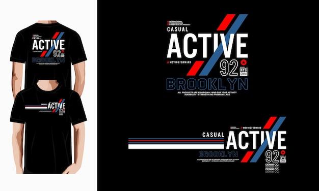 캐주얼 활성 그래픽 티셔츠 디자인 타이포그래피 프리미엄 벡터
