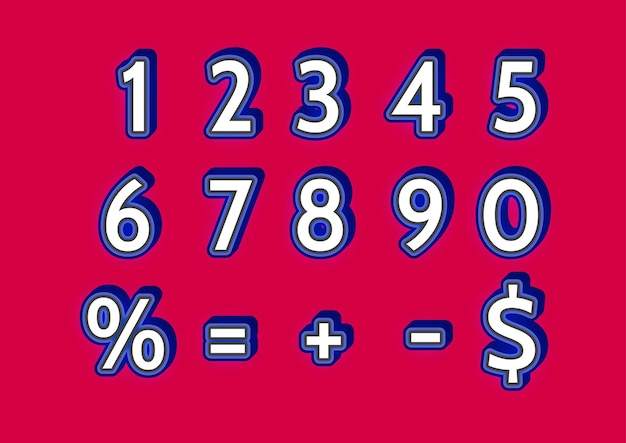 カジュアルな太字の数字セット